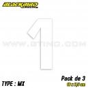 "Pack 3 stickers n° 1 ""MX"" - BLANC"
