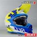 "Casque Cross J32 ""Pro Kick"" Blanc/Bleu/Jaune"